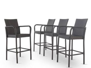 Delfina Outdoor Wicker Barstools only set of 2
