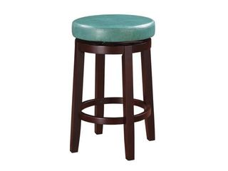 Fabric Upholstered Counter Stool with Slanted legs  Brown and Blue  Retail 167 49