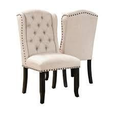 furniture of America rustic linen chairs black and beige