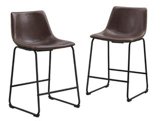 Carbon loft Prusiner Faux leather Counter Stool  Set of 2    Retail 161 99