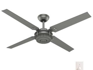 Hunter 54  Chronicle Outdoor Ceiling Fan with Wall Control  Damp Rated   Brushed Slate  Retail 199 99
