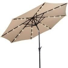 10 ft Patio Market Umbrella Outdoor with Solar Powered lED light  Retail 131 99 beige