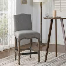 The Gray Barn Odile lake Farmhouse Upholstered Counter Height Bar Stool  Retail 403 99 dark Heather grey