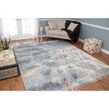 Porch   Den Ardith Blue and Ivory low pile Area Rug  Retail 112 49