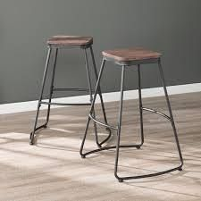 Carbon loft Raymer Industrial Black Metal Barstools  Set of 2  Retail 88 99 dark distressed pine