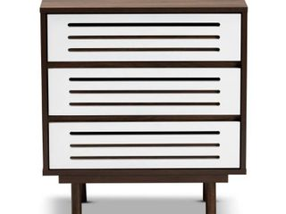 Meike Mid Century Modern Two Tone 3 Drawer Nightstand  Retail 165 99