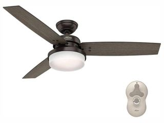 Hunter 52  Sentinel Premier Bronze Ceiling Fan with light Kit and Remote