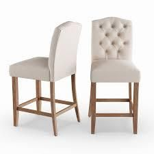 The Gray Barn Mule Patch Off white Fabric  Oak 26 inch Tufted back Counter Stool  Set of 2  Retail 413 99
