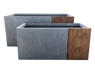 Kante lightweight Concrete Outdoor Planter Set  31 and 23 Inch  Retail 269 99