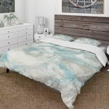 Designart  Pale Blue Shade III  Farmhouse Bedding Set   Duvet Cover   Shams  Retail 118 49