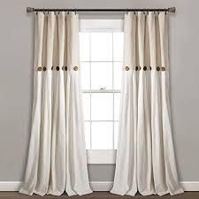 lush Decor linen Button Window Curtain Single Panels in Gray  White   95 l x 40 W