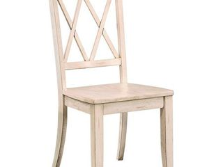 Pine Veneer Side Chair With Double X Cross Back  White  Set of 2