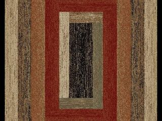 Mayberry Hearthside Rustic Panel Striped lodge Area Rug  Retail 228 99