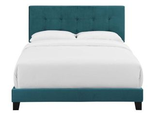 Amira Full bed Upholstered Velvet Bed in Sea Blue no mattress