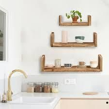 AlEKO Modern Wood Wall Mount Storage Floating U Shaped Shelve 1 pc