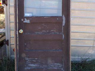 36  USED FRAMED ENTRY DOOR   NO KEY
