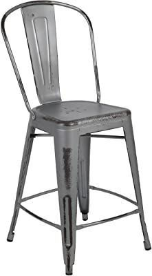 Belnick 30  High Industrial Style Distressed Metal Restaurant Bar Stool   Indoor   Outdoor Barstool