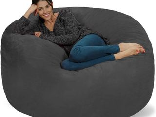 Chill Sack Bean Bag Chair  Giant 5  Memory Foam Furniture Bean Bag   Big Sofa with Soft Micro Fiber Cover   Charcoal