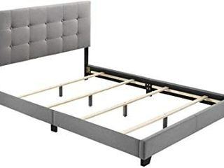 Aria Grey Fabric Upholstered Button tufted Platform Bed   Twin