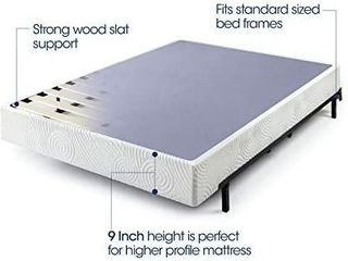 Zinus 9 Inch High Profile Metal Smart Box Spring Mattress Wood Slat  Full