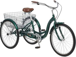 Schwinn Meridian Adult Trike  Three Wheel Cruiser Bike  26 Inch Wheels  Cargo Basket  Green