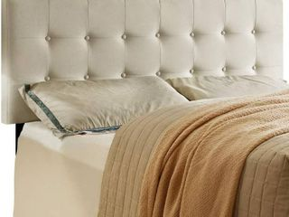 HOME BI Upholstered Tufted Button linen Fabric Headboard Full Queen Size  Beige