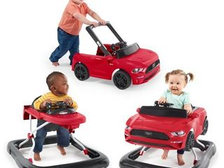 Bright Starts 3 Ways to Play Ford Mustang Baby Walker with Activity Station  Red