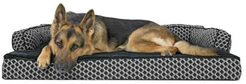 Furhaven Pet   Packable Travel Bed  Plush Orthopedic Sofa  l Shaped Chaise Couch    Mid Century Modern Dog Bed Frame for Dogs   Cats     Jumbo  Diamond Gray