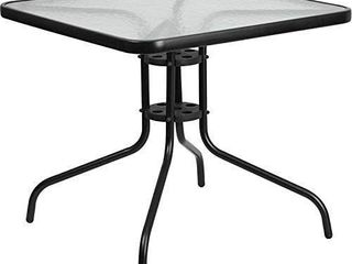 31  Square Tempered Glass Metal Restaurant Table in Black   Patio Table