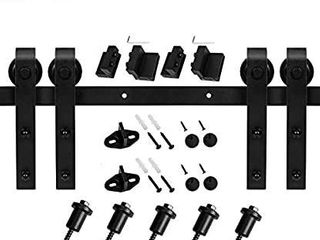 Easelife 6 6 FT Double Door Sliding Barn Door Hardware Track Kit Heavy Duty Easy Install 6 6FT One Piece Track Slide Smoothly Quietly Fit Double 20  Wide Door  6 6FT Track Double Door Kit    MISSING 2 HANGERS AND INSTRUCTIONS