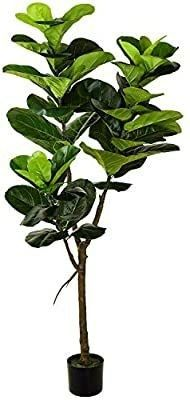 Wofair 5  Artificial Fiddle leaf fig Tree in Planter Artificial Tree Beautiful Fake Plant Fiddle leaf Indoor Outdoor UV Resistant Tree for living Room Balcony Corner Decor