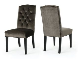 Christopher Knight Home 303765 Dione Traditional Crown Top Grey Velvet Dining Chairs  Set of 2