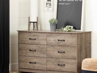 South Shore Tassio 6 Drawer Double Dresser Weathered Oak   MIGHT BE MISSING HARDWARE AND INSTRUCTIONS