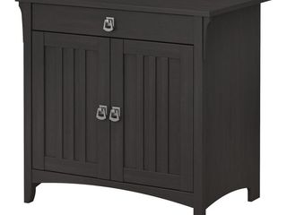 Bush Furniture Salinas Secretary Desk with Keyboard Tray and Storage Cabinet in Vintage Black