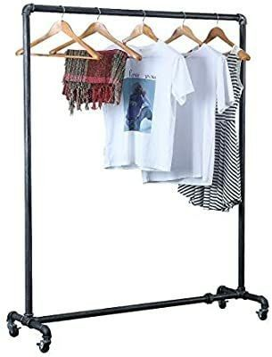 59 Tall 16 Deep Industrial Pipe Clothing Rack Vintage Commercial Grade Pipe Clothes Racks Rolling Rack for Hanging Clothes Retail Display Heavy Duty Steampunk Iron ballet Garment Racks