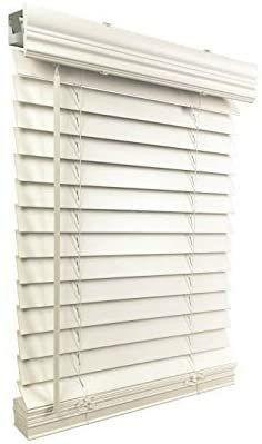 US Window And Floor 2  Faux Wood 45 75  W x 48  H  Inside Mount Cordless Blinds  45 75 x 48  White