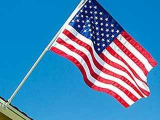 Flag Pole Kit  Includes Tangle Free Flagpole   Flag Pole Bracket and American Flag Made in USA