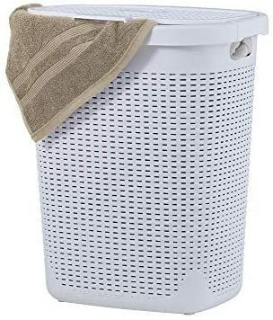 Wicker laundry Hamper With lid 50 liter   White laundry Basket 1 40 Bushel Durable Bin With Cutout Handles   Easy Storage Dirty Cloths in Washroom Bathroom  Or Bedroom  By Superio
