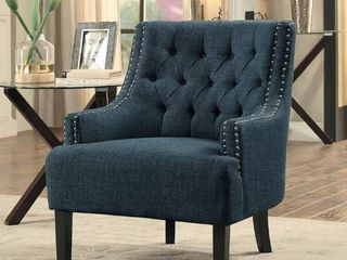 Homelegance 1194in Upholstered Accent Chair With Diamond Tufting  Indigo Fabric
