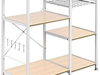 3 Tier Kitchen Baker s Rack Utility Microwave Oven Stand Storage Cart Workstation Shelf White Oak Easy Assembly Multipurpose Shelves