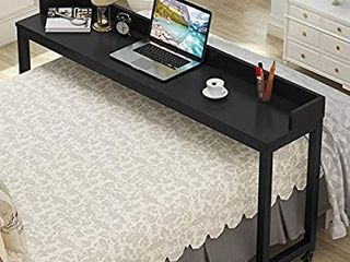 Tribesigns Overbed Table with Wheels  Unadjustable Queen Size Mobile Desk with Heavy Duty Metal legs  Height Can t Adjust  Black