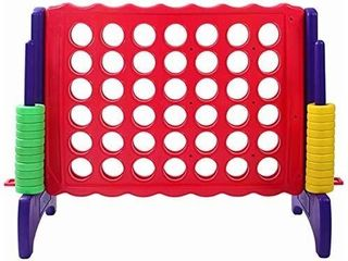 Giant 4 in A Row  4 to Score   Premium Plastic Four Connect Game JUMBO 4 Foot Width or JUNIOR 3 Foot Width Set with 44 Rings by Rally   Roar a Oversized Fun Family  Kids Indoor Outdoor Games