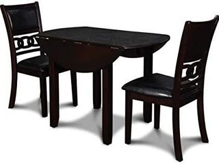 New Classic Furniture Gia Drop leaf Dining Table with Two Chairs  42 Inch  Ebony