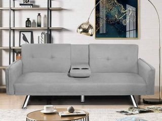 Hooseng Modern Simple Convertible Futon Sofa Bed Fold Up   Down Recliner Couch  Dynamic Couch Bed with 2 Cup Holders light Grey  Actual Color Dark Grey