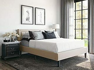Classic Brands Mornington Upholstered Platform Bed   Headboard and Metal Frame with Wood Slat Support  Full  linen
