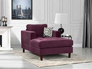 Divano Roma Furniture EXP237 CHAISE PUR Middle Century Modern Velvet Fabric living Room Chaise lounge  Purple