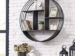 FirsTime   Co  Brody Industrial Circular Shelf  27 5  Diameter x 6  Depth  Metallic Gray