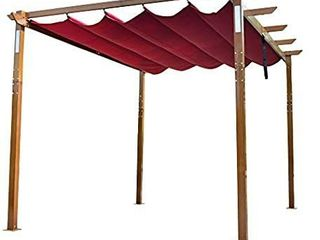 AlEKO PERG10X13lBG Aluminum Outdoor Retractable Pergola with Solar Powered lED lamps and Wooden Finish   13 x 10 Ft   Burgundy