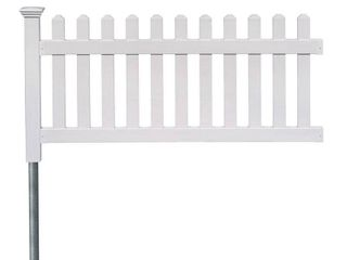 Newport Permanent Picket Fence with Post and No Dig Steel Pipe Anchor  One 3ft x 6ft Section