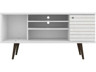 Manhattan Comfort liberty 53 14  Mid Century Modern TV Stand  White